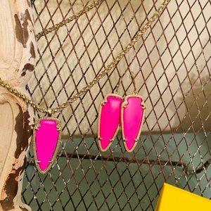 Hot pink Kendra Scott necklace & earrings set